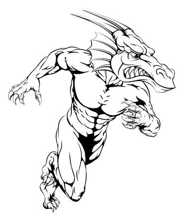 An aggressive muscular dragon sports mascot character charging Illustration