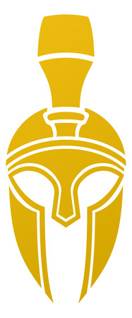 An imposing Spartan or Trojan helmet from the front Illustration