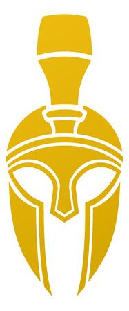 cascos romanos: Un imponente espartano o Trojan casco desde la parte frontal Vectores