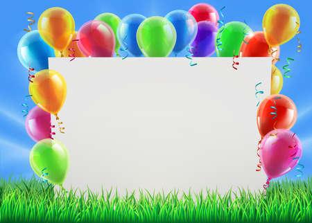 celebrates: Una ilustraci�n de un signo rodeado de globos de fiesta en un campo en un d�a de primavera o verano brillante