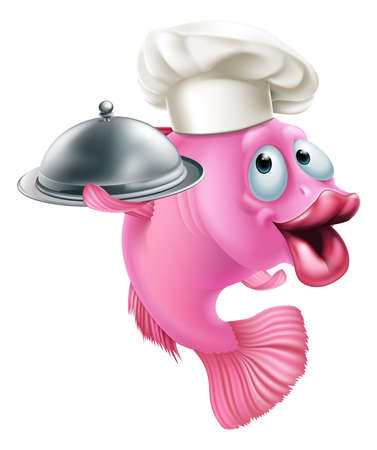 A cartoon chef fish mascot holding a tray or platter cloche, seafood character concept Illustration