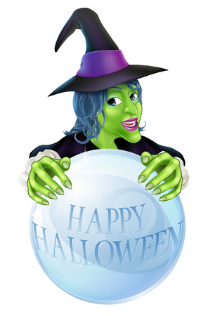 An illustration of a cartoon Halloween Witch and crystal ball reading Happy Halloween Vector