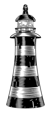 An illustration of a black and white vintage style lighthouse Vector