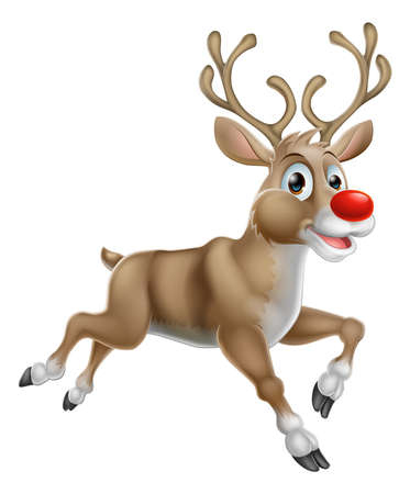 One of Santas Cute Christmas Cartoon Reindeer Vector