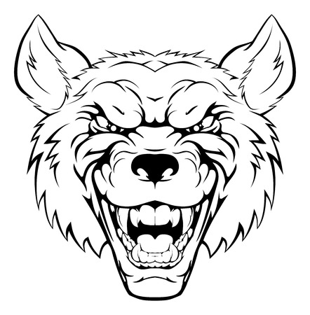 gray wolf black and white: An illustration of a tough looking wolf animal sports mascot or character Illustration