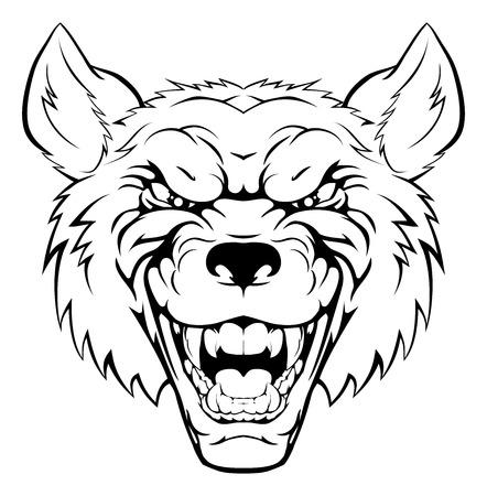 kampfhund: Ein Beispiel für ein hart aussehende Wolf Tier Sport Maskottchen oder Zeichen