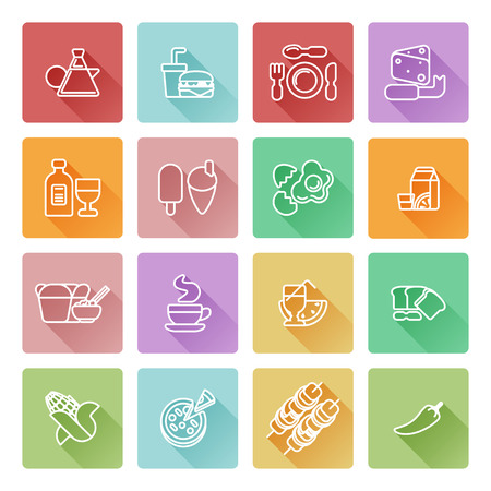 great coffee: Food icon set great for restaurant or guides and similar. Including icons for burger, Chinese food, pizza, coffee and many more Illustration