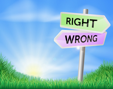 rolling landscape: Right way wrong way sign concept with a choice to make Illustration
