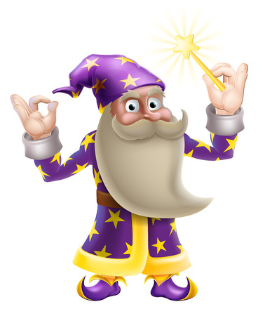 An illustration of a cartoon wizard character doing an okay or perfect gesture and waving a magic wand Vector