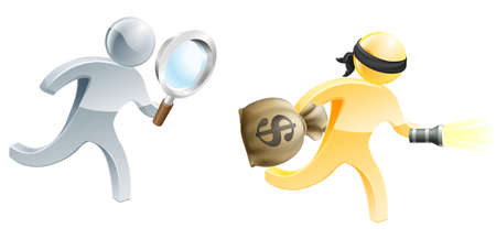 heist: An illustration of a person with a magnifying glass tracking down a criminal with a money bag and torch Illustration