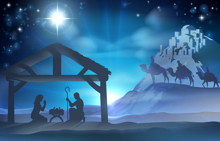 Religious Nativity Christian Christmas scene of baby Jesus in the manger with Mary and Joseph and the three wise men Vector