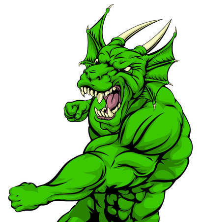black and white dragon: A tough looking green dragon character mascot fighting and punching with fist Illustration