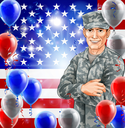 USA Soldier Illustration of a handsome happy American soldier in front of a US flag with party balloons. Great for 4th July, Veterans day, Independence Day or similar. Vector