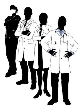 personal medico: Una ilustraci�n de un equipo m�dico en la silueta