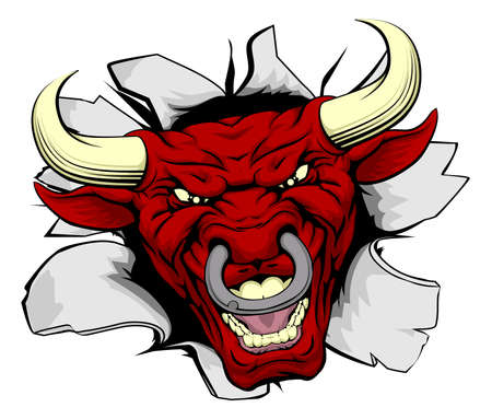 bull rings: Red bull sports mascot or character smashing out of background