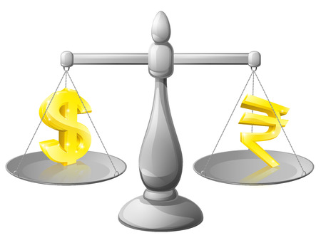 foreign exchange: Scales currency concept, foreign exchange forex concept, dollar and rupee signs on scales being weighed against each other Illustration