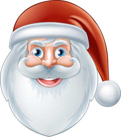 An illustration of a Christmas cartoon happy Santa face Vector
