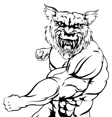 A mean tough wolf animal sports mascot punching at viewer Vector