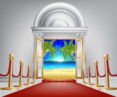 could: Beach door concept, could be for a beach party or VIP holiday