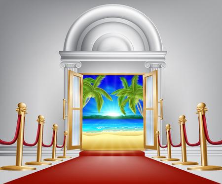 vacaciones en la playa: Playa concepto de puerta, podr�a ser para una fiesta en la playa o vacaciones VIP