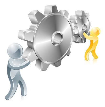 Gears settings men concept of a gold man and a silver man turning machine gears Vector