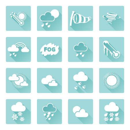 Weather icon set for weather forecasting apps or similar in modern flat shadow style Vector