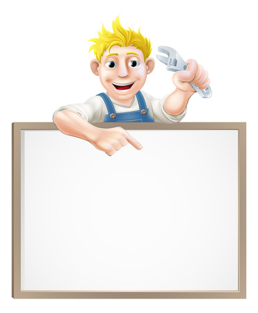 A plumber or mechanic holding an adjustable wrench or spanner  and peeking over a sign and pointing Vector
