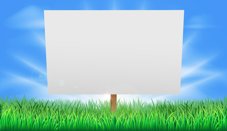 A blank sign standing in a summer field of grass Vector