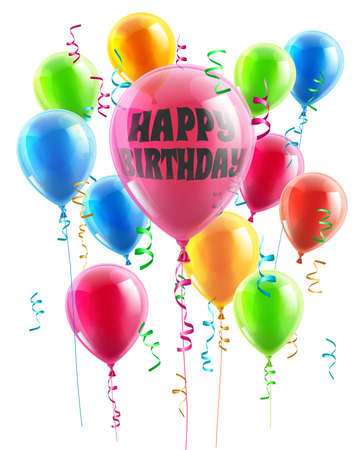 globos de cumplea�os: Globos del cumplea�os ilustraci�n de un grupo de globos de fiesta uno con el mensaje de feliz cumplea�os Vectores