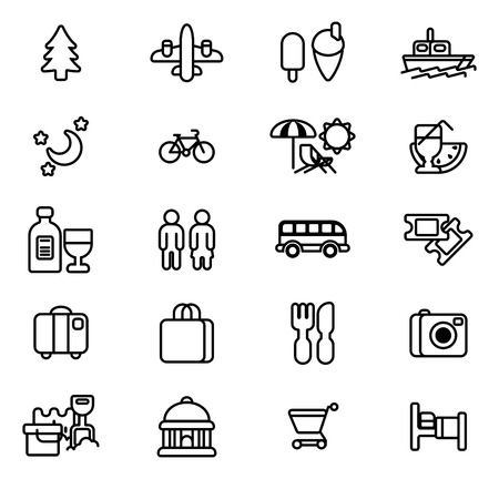ikon: Travel and tourism icons including beach deck chair, airplane, icecream, museum and many more