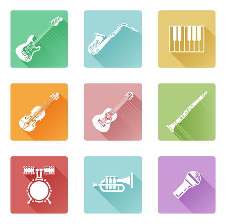 ikon: Musical instrument music icons including ones for clarinet, guitar, piano and many more