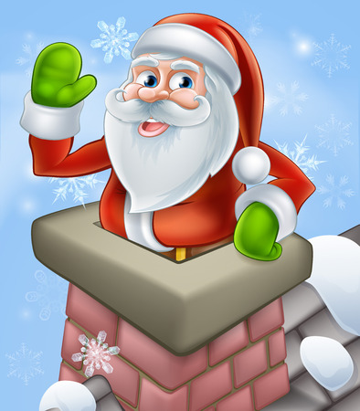 clipart chimney: An illustration of Santa on a snowy rooftop poping out of a chimney and waving at Christmas.
