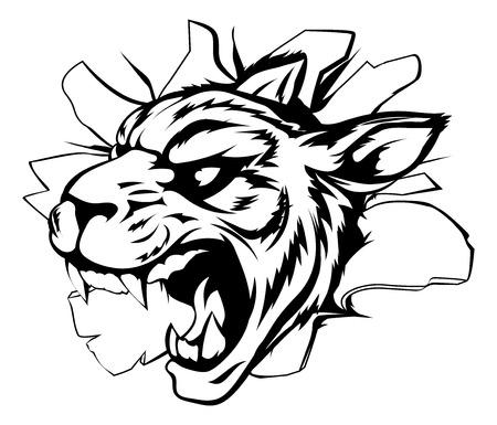 Cartoon fierce tiger mascot animal character breaking through a wall Vector
