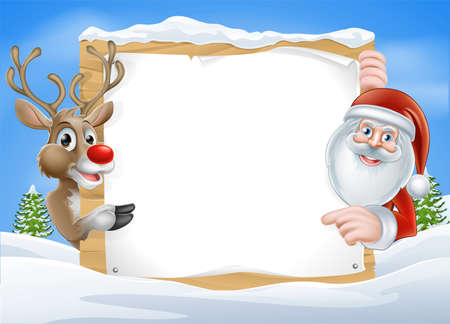 claus: Christmas Reindeer and Santa Sign with cute cartoon Reindeer and Santa pointing at a snow covered sign on a winter landscape