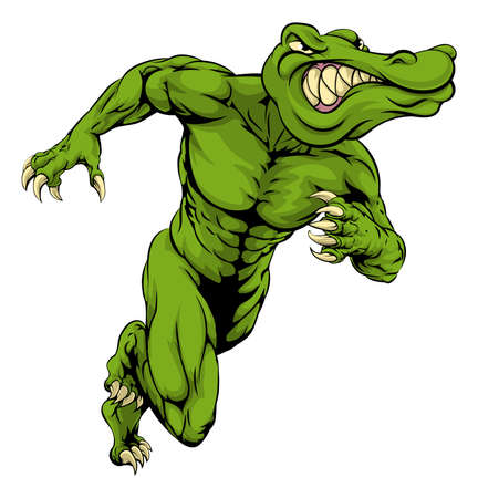 An illustration of a scary alligator or crocodile mascot running or charging Illustration