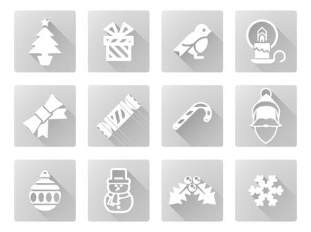 christmas cracker: Christmas icon set including Santa, snow flake, cracker, robin, snowman and lots more