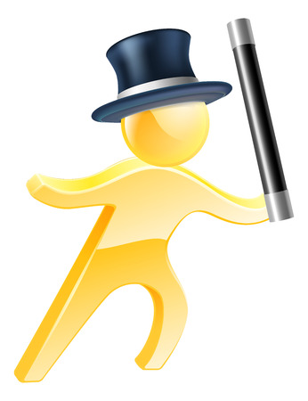 stage props: Illustration of a magician wearing a top hat and waving a wand Illustration