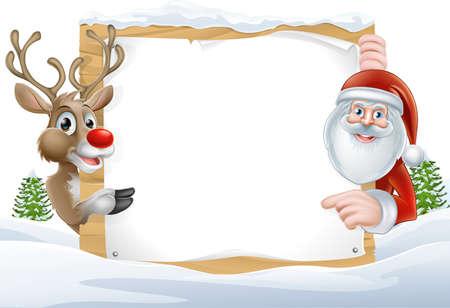 coberto de neve: Rena dos desenhos animados e Santa apontando para um sinal coberto de neve em uma paisagem de inverno