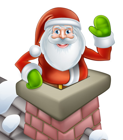 rooftop: An illustration of Santa on a snowy rooftop poping out of a chimney and waving at Christmas.