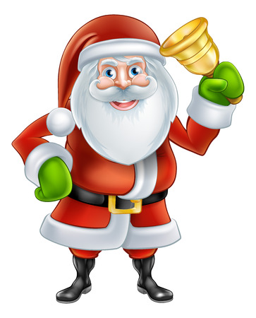 An illustration if a happy Cartoon Santa Claus character Ringing a gold hand Bell Vector