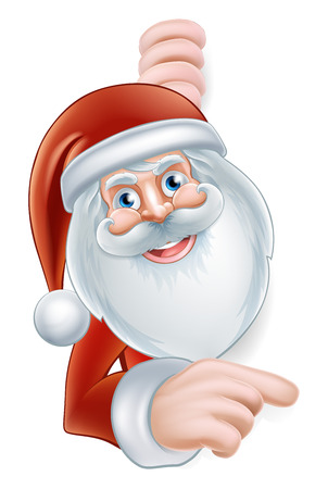 An illustration of a cute Cartoon Santa Pointing at a sign Vector