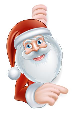 santaclause hat: An illustration of a cute Cartoon Santa Pointing at a sign