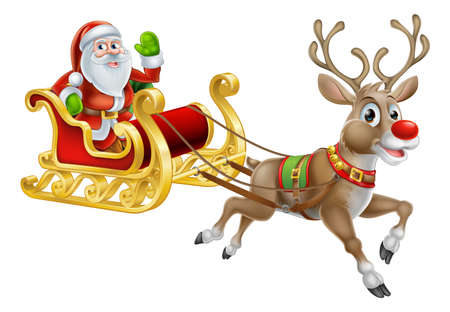 An illustration of Santa Claus riding in his Christmas Sleigh or Sled delivering presents with his red nosed reindeer