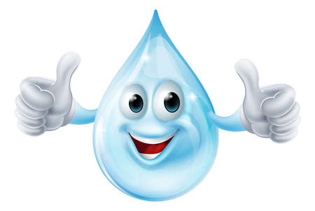 Une illustration d'un caractère de goutte d'eau donnant un coup de pouce