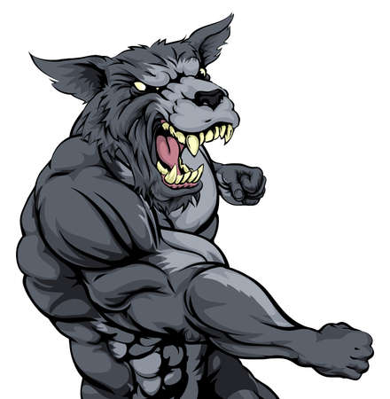 animal fight: A tough muscular wolf character sports mascot attacking with a punch