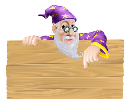 Wizard signboard cartoon illustration of a wizard pointing down at a wooden sign Vector