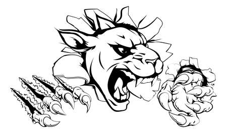 black and white panther: A scary panther mascot ripping through the background with sharp claws Illustration