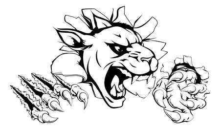 jaguar: Una mascota de la pantera de miedo que rasga a través del fondo con garras afiladas