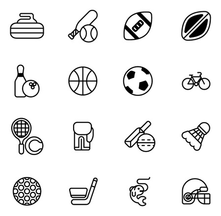 curling: Sports icons set with icons for many sports including football, cricket, curling and many more