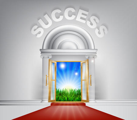 field and sky: An illustration of a posh looking door with red carpet and Success above it. Concept for door to success